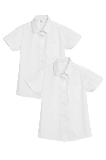 White 2 Pack Short Sleeve Curved Collar Shirt (3-16yrs)