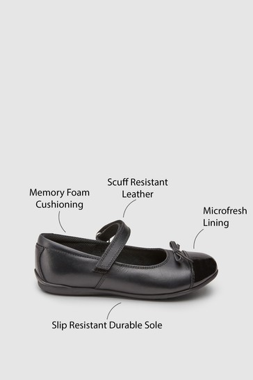 Black Standard Fit (F) Leather Patent Toe Cap Mary Jane Shoes