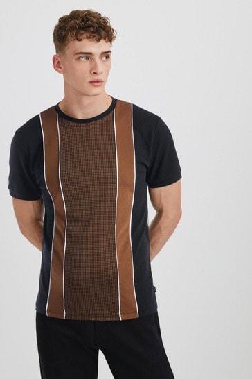 Black/Brown Dogtooth Pattern T-Shirt
