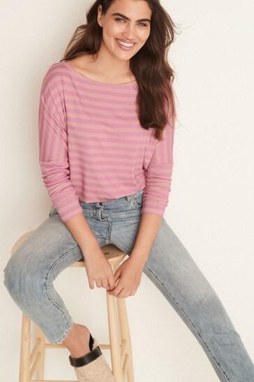 Pink Stripe Dolman Long Sleeve Top