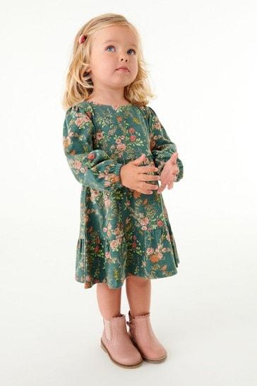 Green Floral Jersey Tier Dress (3mths-7yrs)