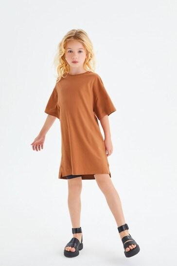 Rust Cotton Jersey T-Shirt Dress (3-16yrs)
