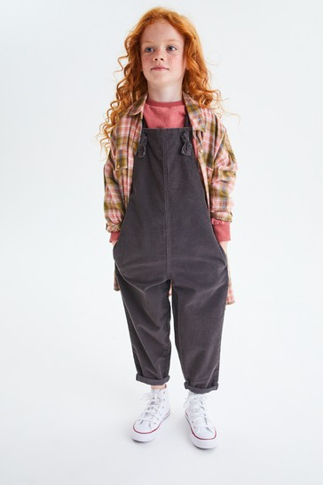 Charcoal Grey Cord Soft Cotton Dungarees (3-16yrs)