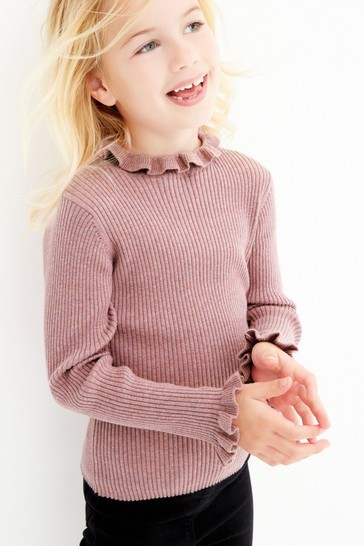 Lilac Knitted Rib Frill Neck Top (3-16yrs)