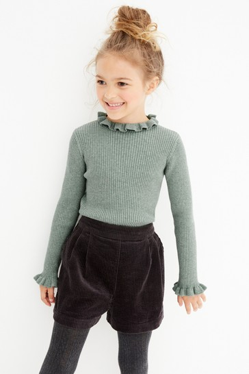 Sage Knitted Rib Frill Neck Top (3-16yrs)