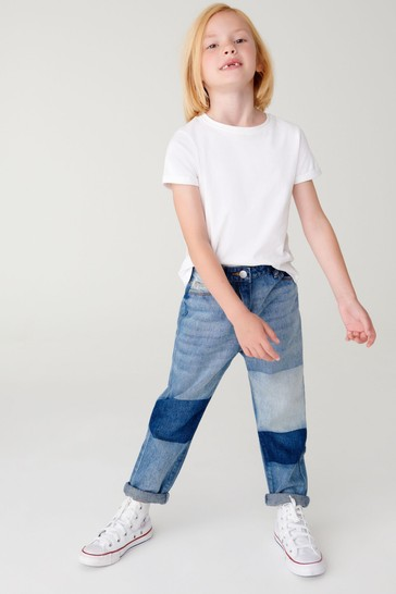 Mid Blue Patched Mom Jeans (3-16yrs)