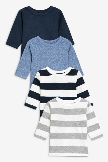 Blue/Stripe 4 Pack Long Sleeve T-Shirts (3mths-7yrs)