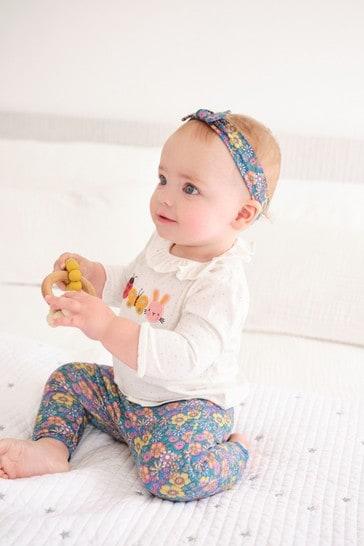 Multi Bright Floral T-Shirt, Leggings And Headband Set (0mths-3yrs)