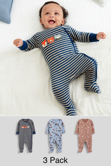 Navy Character 3 Pack Embroidered Sleepsuits (0-2yrs)