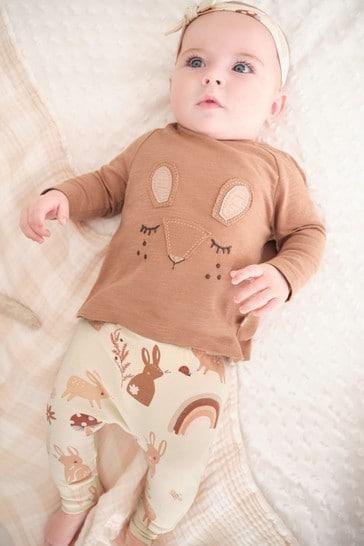 Brown/Cream Bunny T-Shirt, Leggings And Headband Set (0mths-3yrs)
