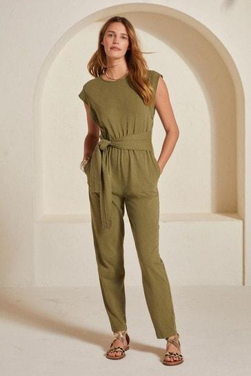 Khaki Green Tie Front Jumpsuit