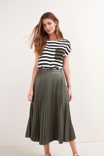 Khaki PU Pleated Skirt