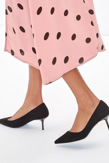Black Regular/Wide Fit Asymmetric Kitten Heels