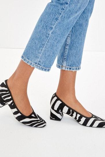Zebra Square Toe Block Court Shoes