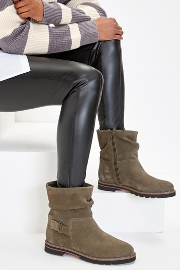 Khaki Green Extra Wide Fit Forever Comfort® Leather Weekend Ankle Boots