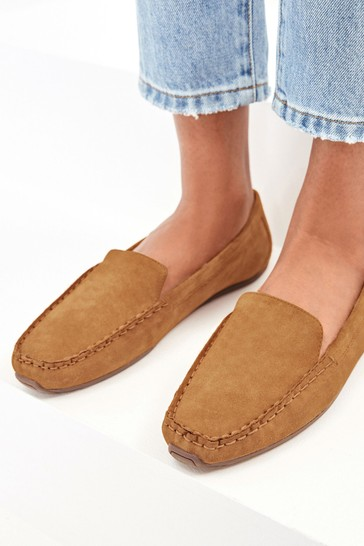 Tan Suede Cosy Lined Moccasins