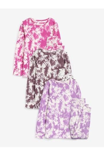 Multi 3 Pack Snuggle Fit Printed Tie Dye Pyjamas (9mths-16yrs)