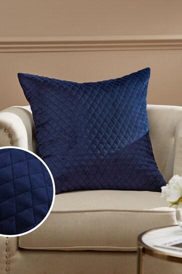 Navy Velvet Quilted Hamilton Square Cushion