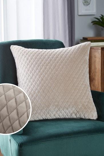 Champagne Velvet Quilted Hamilton Square Cushion