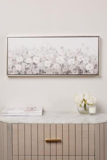 Large Floral Embellished Canvas