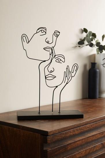 Black Wire Face Sculpture