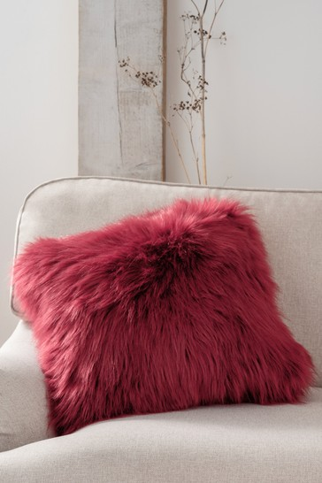Red Arctic Cosy Faux Fur Square Cushion
