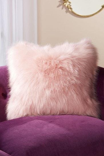 Blush Pink Arctic Cosy Faux Fur Square Cushion