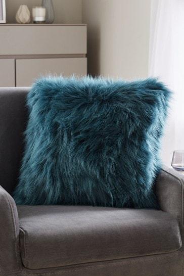 Teal Blue Arctic Cosy Faux Fur Square Cushion