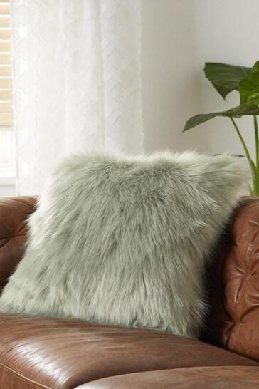 Sage Arctic Cosy Faux Fur Square Cushion