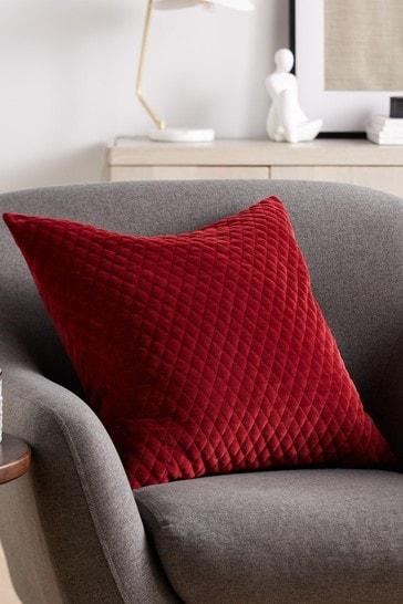 Red Velvet Quilted Hamilton Square Cushion
