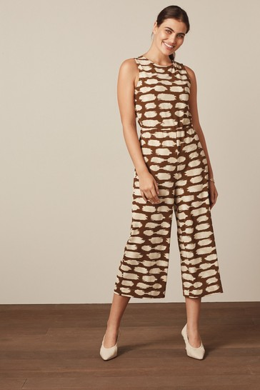 Chocolate Brown Print Open Back Jumpsuit