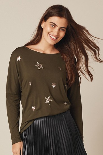 Khaki Green Embellished Star Dolman Long Sleeve Top