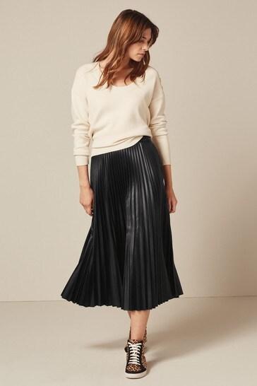 Black Faux Leather PU Pleated Skirt