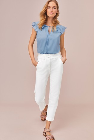 White Elasticated Waist Tapered Jeans