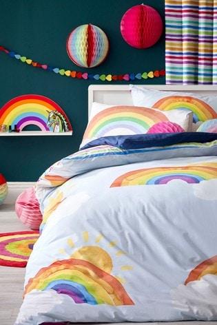 Blue Bright Rainbow Reversible Duvet Cover And Pillowcase Set