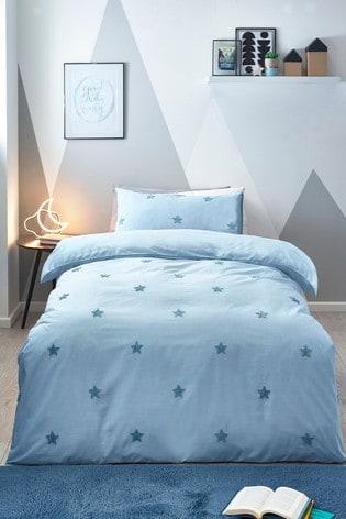 Blue Tufted Star Duvet Cover and Pillowcase Set