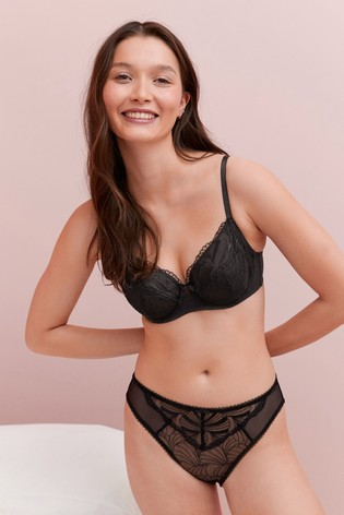 Black/Cream Lizzie Embroidered Non Padded Balcony Bras Two Pack