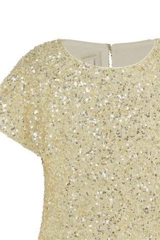 Monsoon Gold Sequin Flutter Sleeve Top