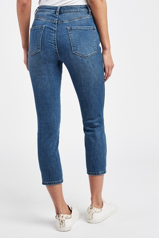 Mid Blue Skinny Cropped Jeans