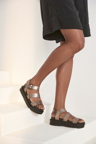 Silver Cleat Sole Three Band Sandals