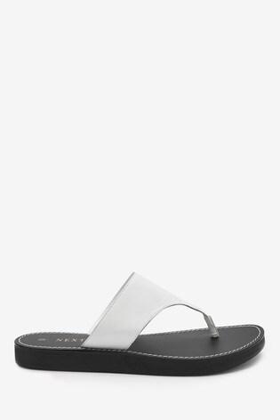 White Regular/Wide Fit Platform Toe Post Mules