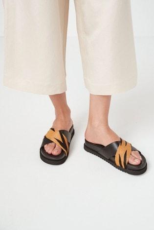 Black/Animal Signature Forever Comfort® Cross Over Mule Sandals