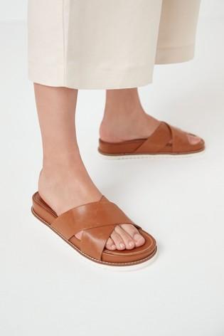 Tan Signature Forever Comfort® Cross Over Mule Sandals