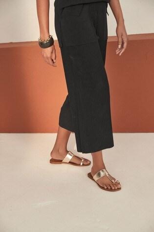 Gold Regular/Wide Fit Toe Loop Mule Sandals