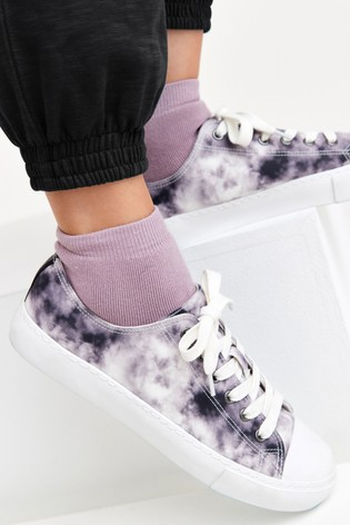 Grey Lace Up Baseball Canvas Trainers