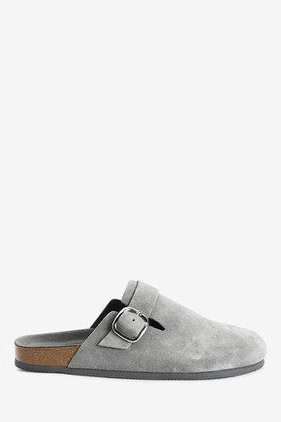 Grey Suede Forever Comfort® Closed Toe Footbed Mules