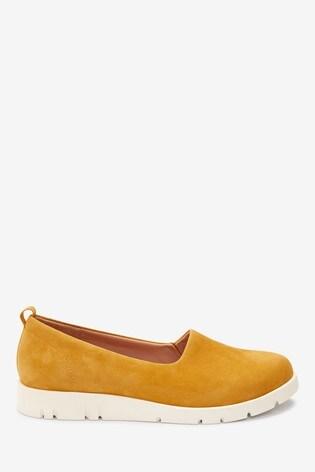 Ochre Suede Motion Flex Slip-On Shoes