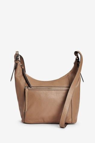 Camel Leather Zip Across Body Bag