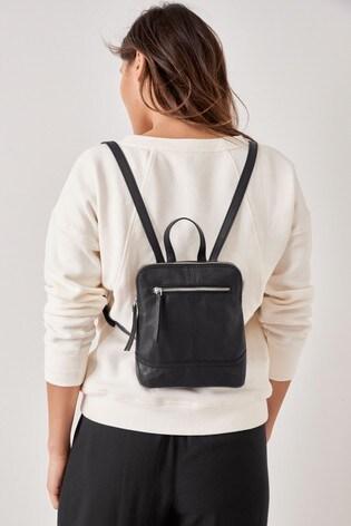 Black Mini Leather Rucksack