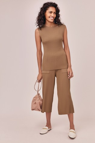 Stone Co-Ord Pleat Trousers